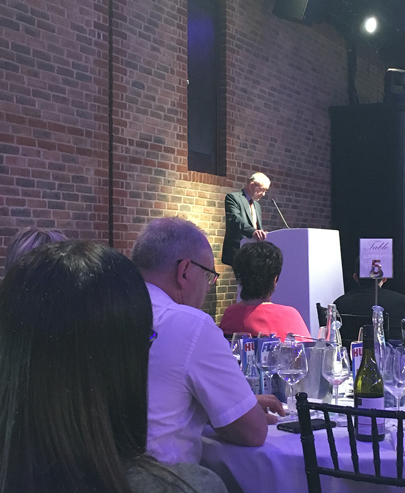 FETA chairman John Smith delivers his speech to guests at the FETA annual lunch.