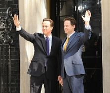 UK Prime minister David Cameron with deputy pm Nick Clegg
