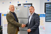 Bob Smith (left) is welcomed to the Hamworthy team by national sales manager Stuart Turner.