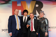 Left to right: Steven Booth of Guardian Water Treatment; comedian and HVR Awards host, Tom Ward; Steve Munn of Hevasure; and HVR Awards judge Laura Bishop of Infitas Design.