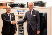 Pictured (left to right): Mr Toshiyuki Takagi, executive officer of Panasonic Corporation and president of Panasonic Air-Conditioner and Gerald Engström, chairman and founder of Systemair announcing the strategic partnership between both companies at Climatizacion 2019