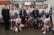 Left to right: director of Arctic Aircon, Peter Ruffhead, Fujitsu area business development manager, Giles Pratt, Fujitsu chief operating officer, Ian Carroll, with the Arctic Aircon Racing Team.