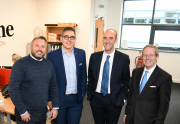 Left to right: Sean Langston, Simon Williams, Flames Group's financial controller, Simon Hanson, the FSB's North East development manager, and Mike Cherry.