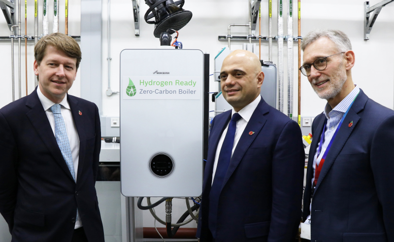 Left to right: Robin Walker MP, Sajid Javid MP and Carl Arntzen, chief executive of Worcester Bosch.