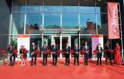 The ribbon being cut in front of the new Viessmann plant in Pinghu near Shanghai.