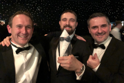 Left to right: Paul Golding, Richard Nicholls and Jeremy Hodgin of Airedale accept CIBSE Yorkshire Manufacturer of the Year Award 2019.