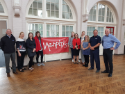 Left to right: Paul Martin, national sales manager, ATAG Commercial; Menphys staff members Amy Pullin, Carolyn Pascoe, Ellie Grudgings, Charlotte Chapman, Nicola Turpin, Jessica Buckley, Janice Billington; Adam Johnson, area sales manager, ATAG Commercial; Ian Caldwell, Menphys chief executive.