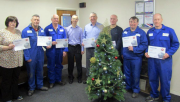 Fabdec employees receiving their long-term service awards.