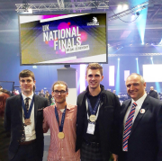 Left to right: Bronze medalist Joshua Collins from JD Cooling, Gold medalist Sidney Copus of Space Engineering, Silver medalist Ben Wilson from Knight Engineers and SkillFRIDGE project manager Mark Forsyth.