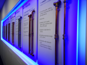 wall-mounted display of Conex Bänninger's fittings range.