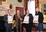 Keith Robert Walklate with the Master of the Worshipful Company of Plumbers (WCP), Dr Peter Rumley, Andrew John Mensley and James GS Hendry