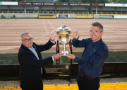 Garry Plant, managing director of Harrogate Town AFC with Andy Makin, managing director of EnviroVent (right)