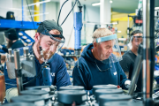 Baxi sales team colleagues Daniel Kinsella and Paul Trotman at work on the production line