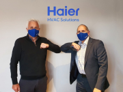 Easy Air Conditioning managing director Neal Gooding and Haier HVAC Solutions European General manager Bob Cowlard welcome the new agreement